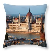 Parliament Building In Budapest At Sunset Throw Pillow