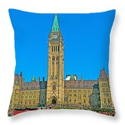 Parliament Building In Ottawa-on Throw Pillow