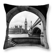 Parliament Through An Archway Throw Pillow