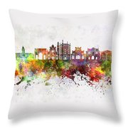 Parma Skyline In Watercolor Background Throw Pillow