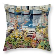 Paros Throw Pillow by Jeremy Annett