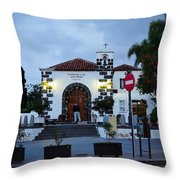 Parraquia De San Amaro. Puerto De La Cruz By Night Throw Pillow
