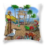 Parrot Beach Party Throw Pillow
