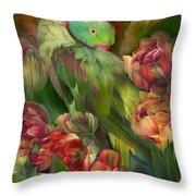 Parrot In Parrot Tulips Throw Pillow