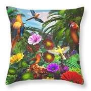 Parrot Jungle Throw Pillow
