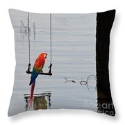 Parrot On A Swing Throw Pillow