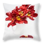 Parrot Tulips In A Milk Jug Throw Pillow