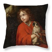 Parrot Watching A Boy Holding A Monkey Throw Pillow
