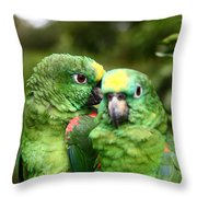Parrot Whispers Throw Pillow