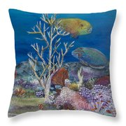 Parrots Of The Reef Throw Pillow