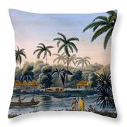 Part Of The Village Of Matavae, Coconut Throw Pillow