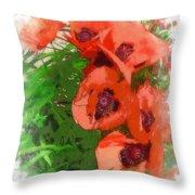 Partial To Poppies Throw Pillow