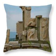 Partially Restored Fountain Of Trajan In Ephesus-turkey Throw Pillow