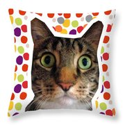 Party Animal - Smaller Cat With Confetti Throw Pillow