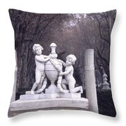 Paseo Del Prado In Winter Madrid Throw Pillow