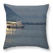 Passanger Ship At Night Throw Pillow