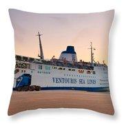Passenger Port Piraeus. Throw Pillow