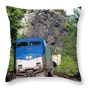 Passenger Train Locomotive Throw Pillow