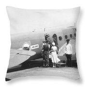 Passengers Boarding Airplane Throw Pillow
