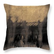 Visitors At Bethesda Terrace Throw Pillow