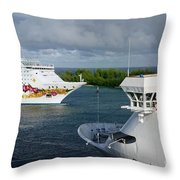 Passing Cruise Ships Throw Pillow