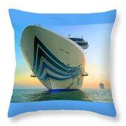 Passing Cruise Ships At Sunset Throw Pillow