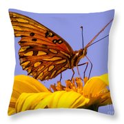 Passion Butterfly On The Mexican Sunflower Throw Pillow