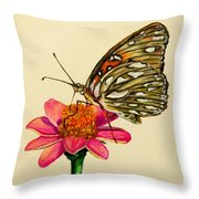 Passion Butterfly On Zinnia Throw Pillow
