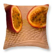 Passion Fruit On Fish Plate 11-3-13 Throw Pillow