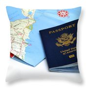 Passport And Map Of Bermuda Throw Pillow