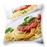 Pasta And Tomato Sauce Throw Pillow