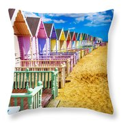 Pastel Beach Huts 2 Throw Pillow