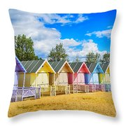 Pastel Beach Huts Throw Pillow by Chris Thaxter