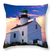Pastel Drawing Old Point Loma Lighthouse Cabrillo National Monument California Throw Pillow