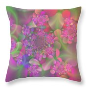 Pastel  Fractal Flower Garden Throw Pillow