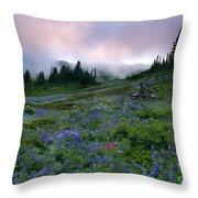 Pastel Mountain Dawn Throw Pillow