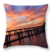 Pastel Painted Sky At The Pier Throw Pillow