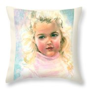 Pastel Portrait Of An Angelic Girl Throw Pillow