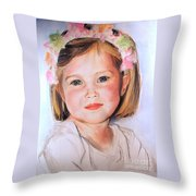 Pastel Portrait Of Girl With Flowers In Her Hair Throw Pillow