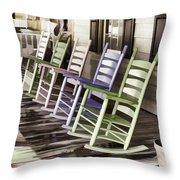 Pastel Rocking Chairs Throw Pillow