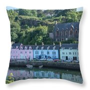 Pastel Rowhome In The Bay Highlands Scotland Throw Pillow