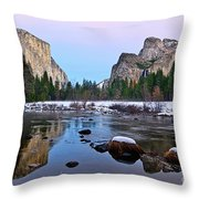 Pastel - Sunset View Of Yosemite National Park. Throw Pillow
