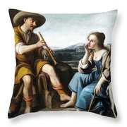 Pastoral Scene With A Shepherd Family Against A Countryside Background Throw Pillow