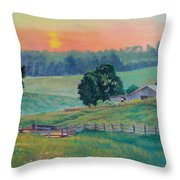 Pastoral Sunset Throw Pillow