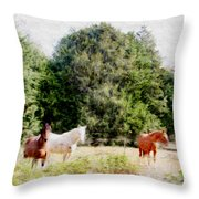 Pasture For Three Throw Pillow