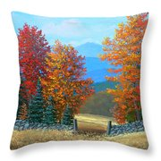 Pasture Gate In Autumn Throw Pillow