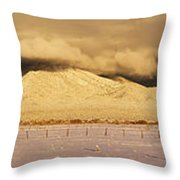 Pasture Land Covered In Snow At Sunset Throw Pillow