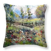 Pasture With Fence Throw Pillow