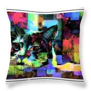Patchwork Kitty Throw Pillow