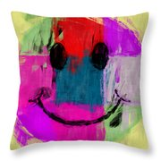 Patchwork Smiley Face Throw Pillow
